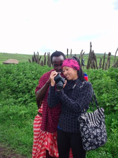 Showing photos to a Maasai man in Kenya